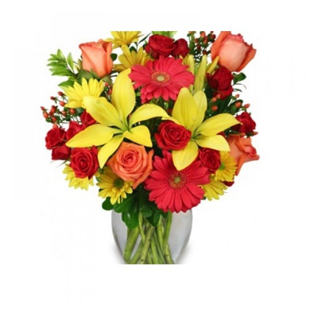 Bring On The Happy Vase of Flowers