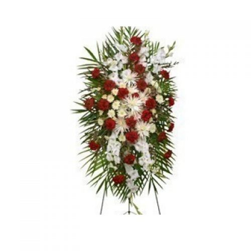 Graceful Red & White Standing Spray Funeral Flowers