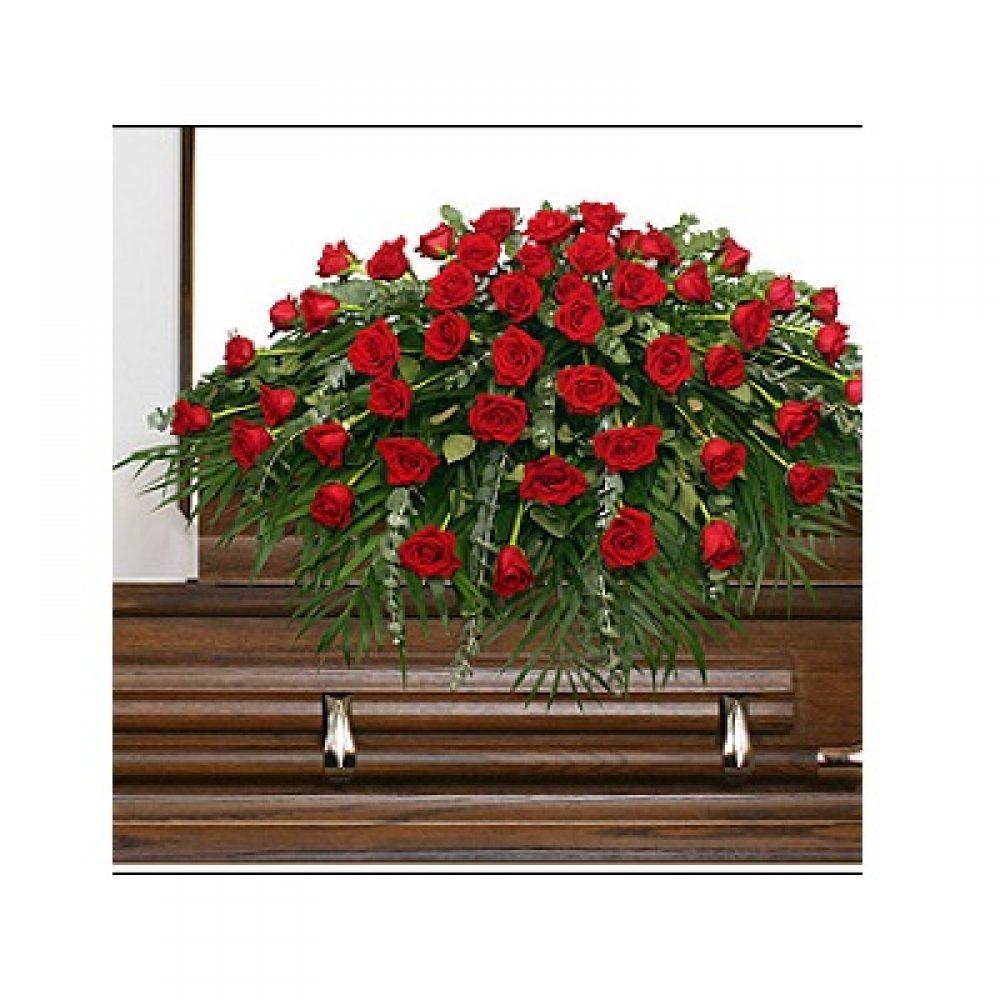 Majestic Red Casket Spray Funeral Flowers