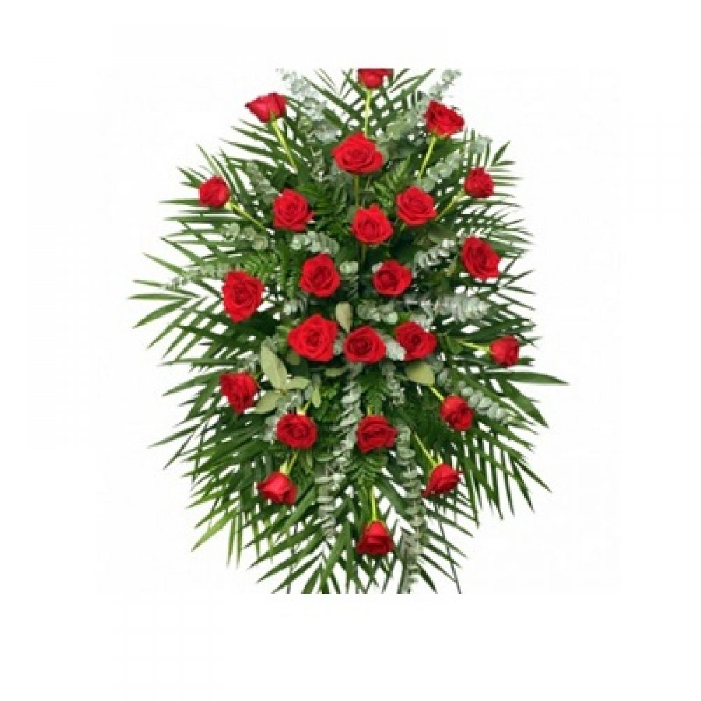 Red Roses Standing Spray Funeral Flowers