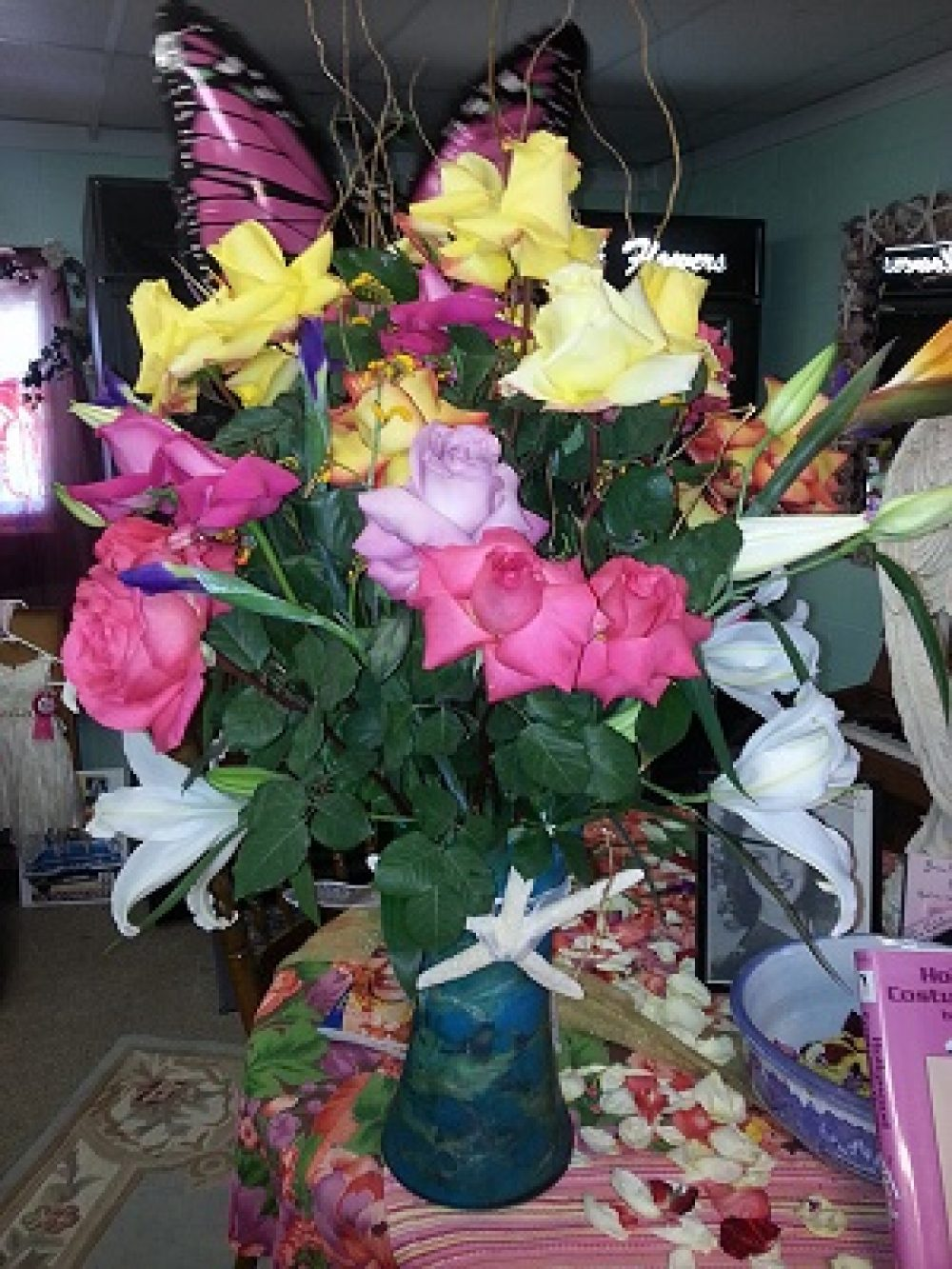 Rose Arrangement With Lilies