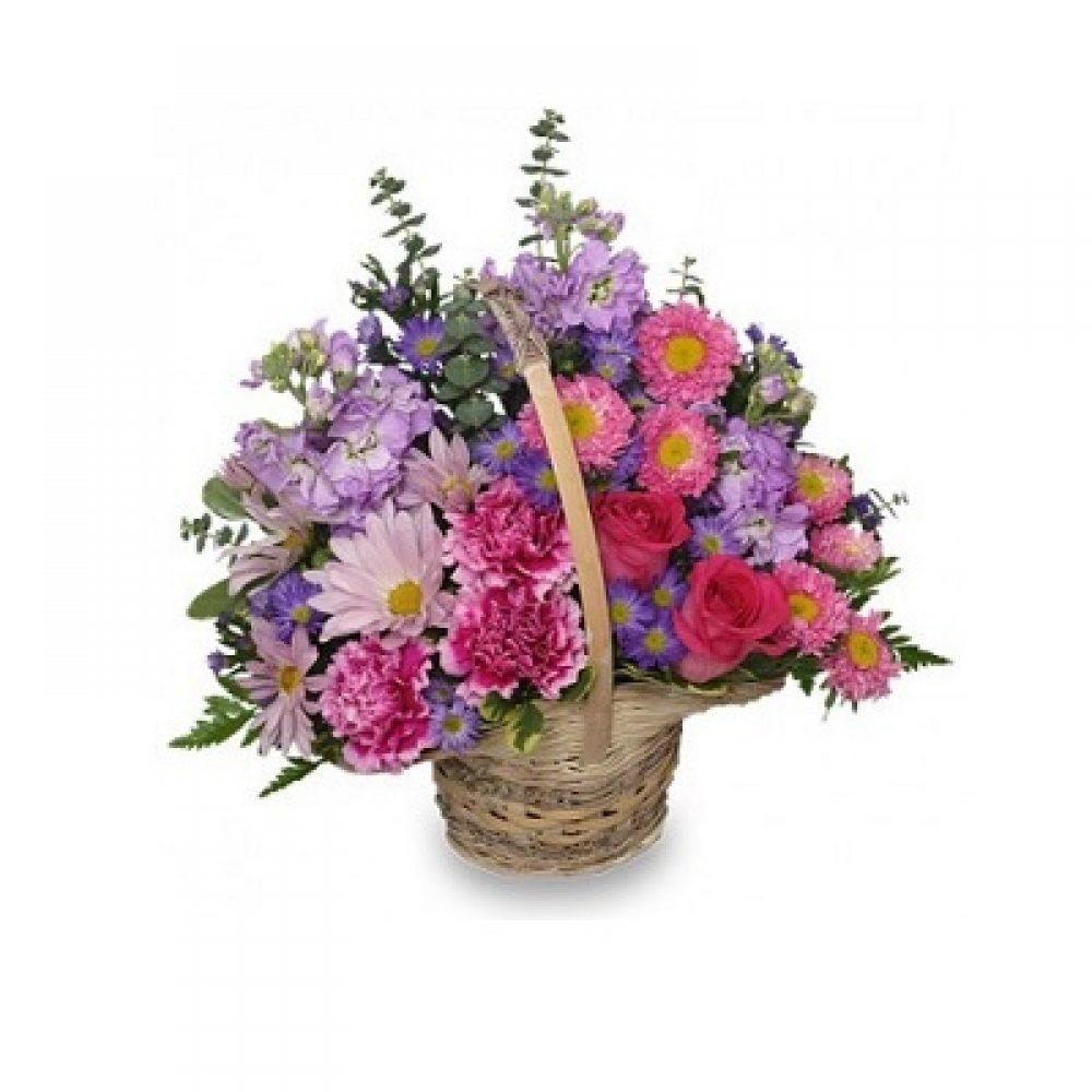 Sweetly Spring Basket Flower Arrangement