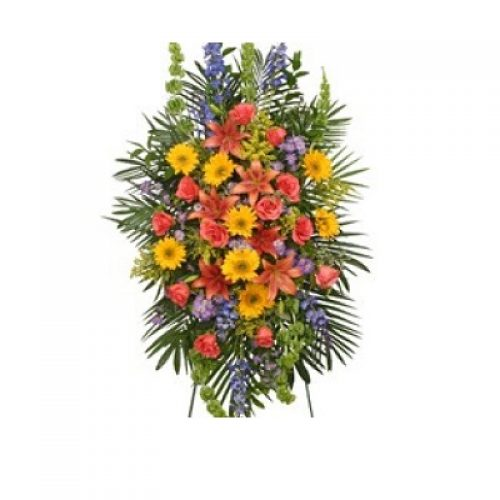 Vibrant Floral Expression Standing Funeral Spray