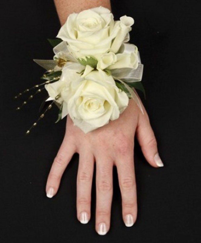 White Rose Glitter Prom Corsage
